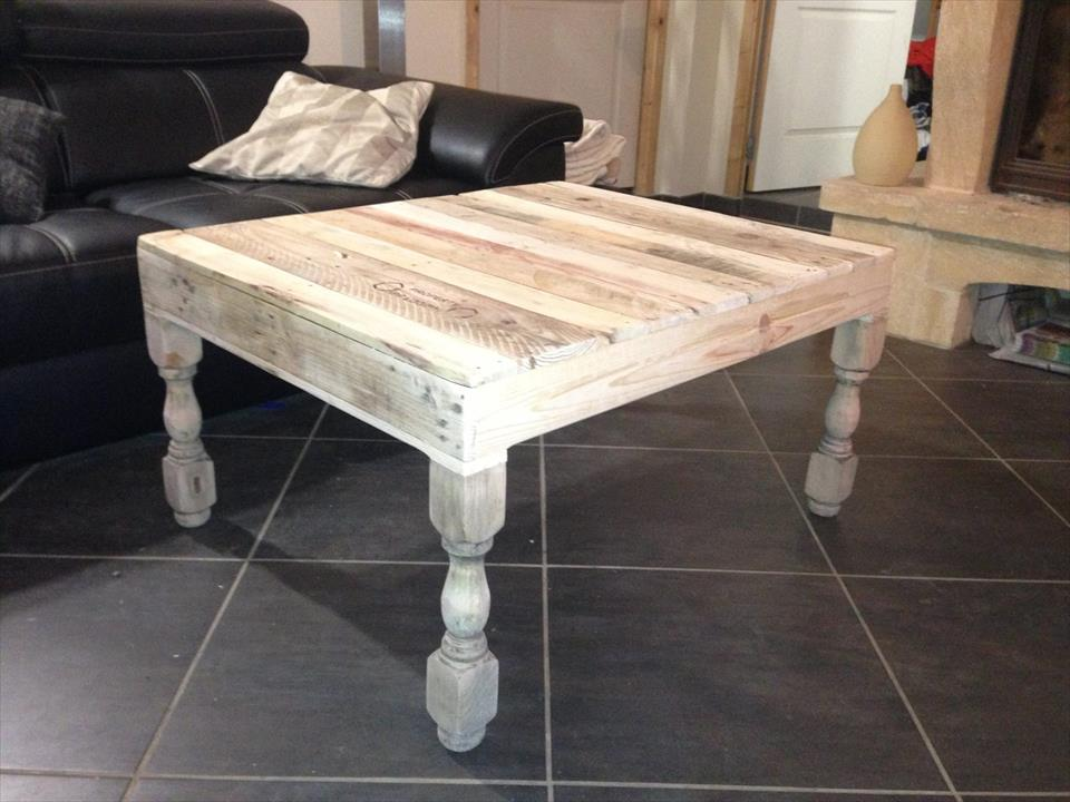 Recycled Pallet Coffee Table With Turned Legs