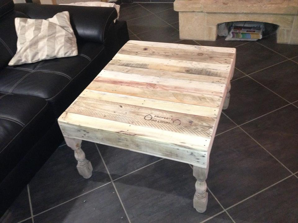 Pallet Coffee Table With Turned Legs 1001 Pallet Ideas