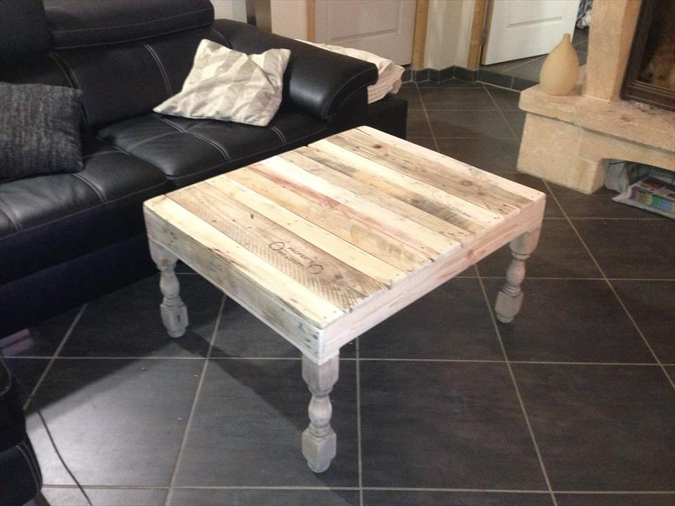 Repurposed pallet coffee table with turned legs