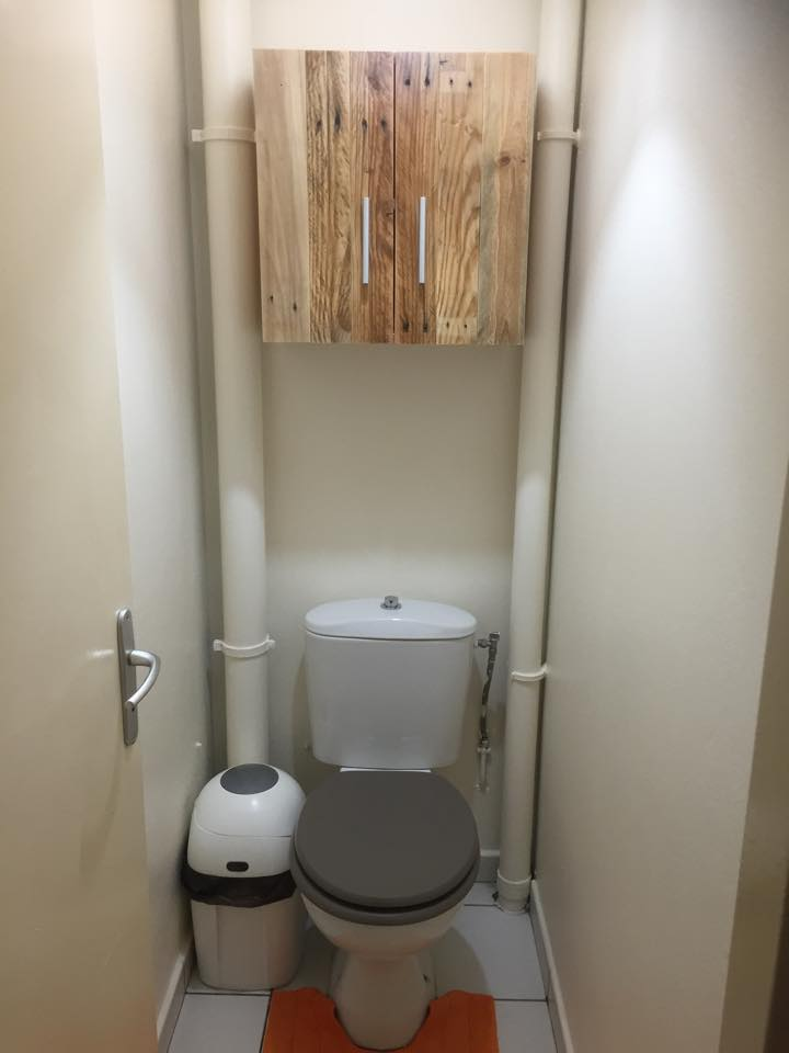 Repurposed pallet small cabinet for bathroom