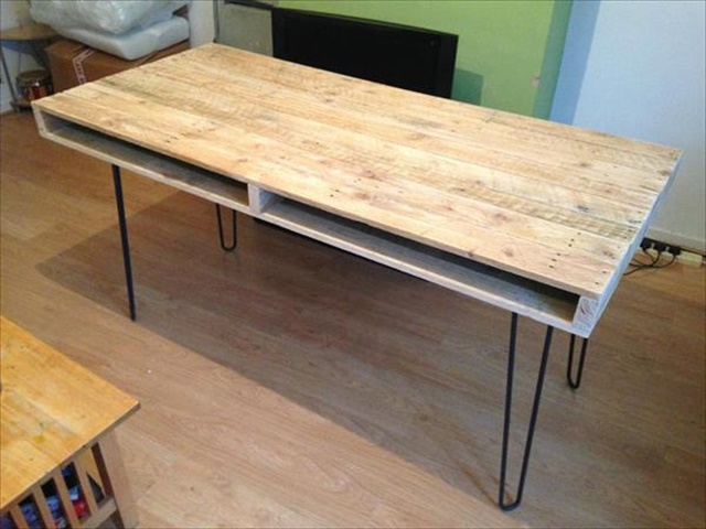 Upcycled Pallet Slim Dining Table With Hairpin Legs