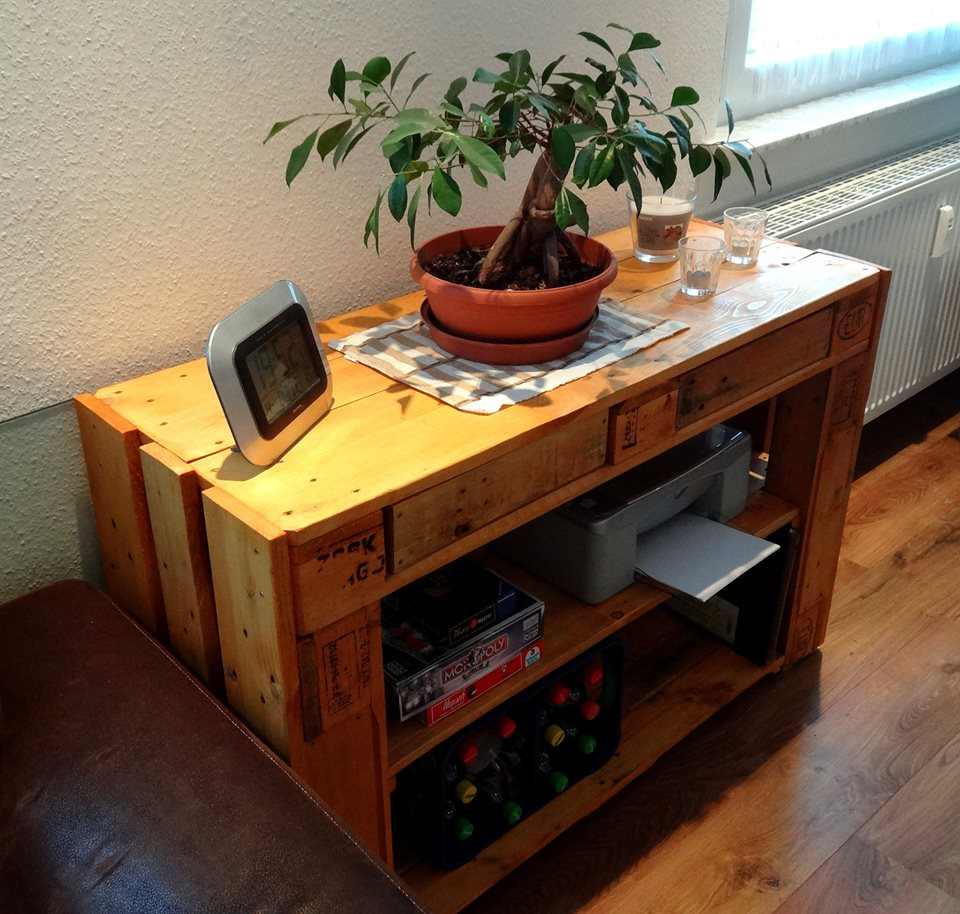 handmade wooden pallet media console and side table