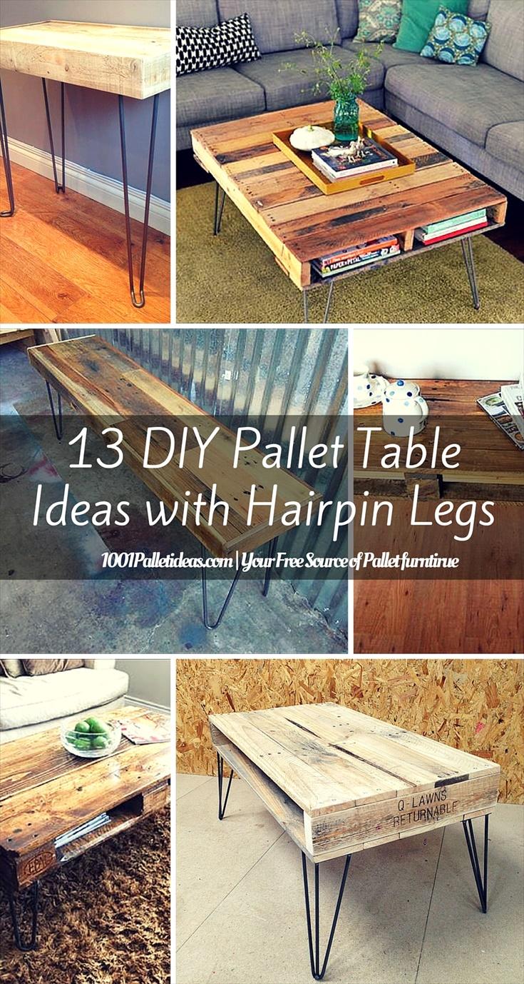 Industriel Table Basse Palette 13 diy pallet tables with hairpin legs   1001 pallet ideas